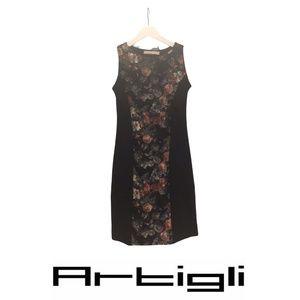 NWOT Artigli  Black  Dress Flowers detail Small